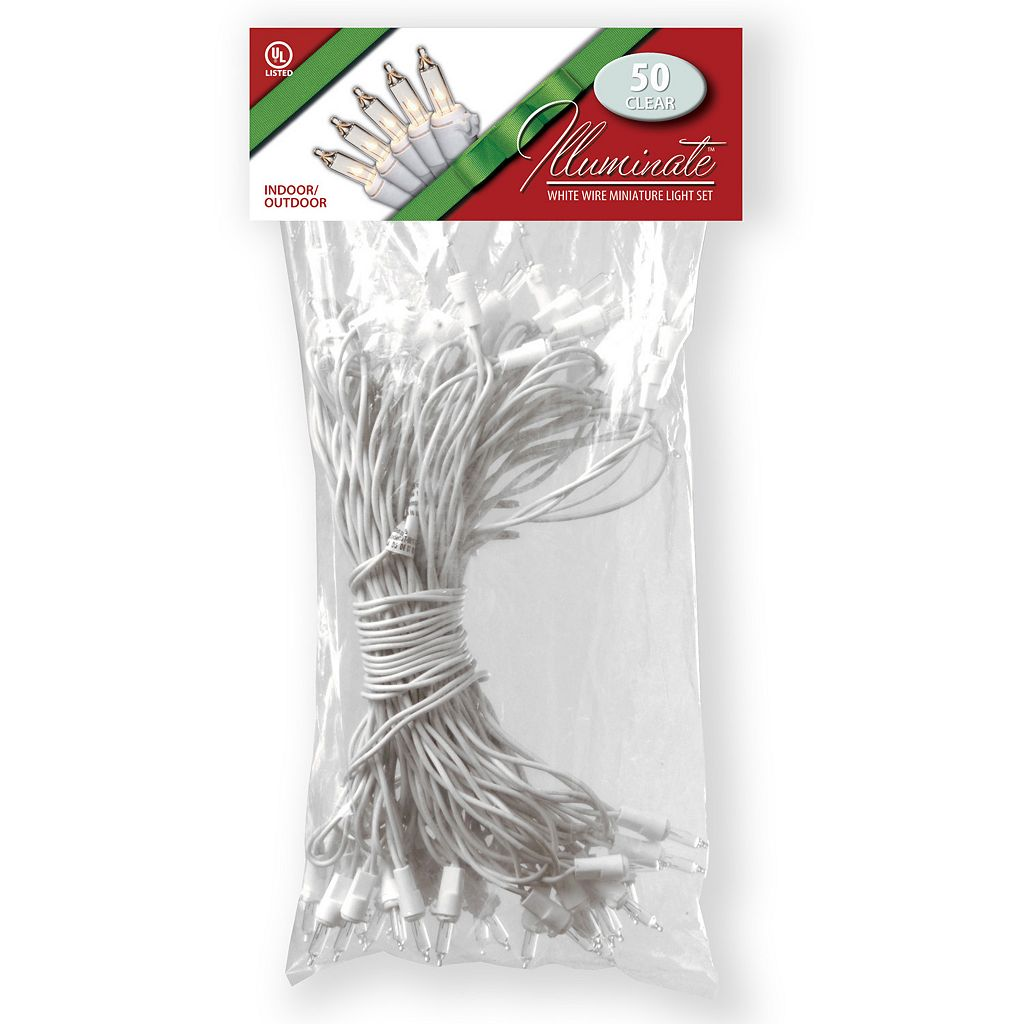 National Tree Company 50 Light Clear White Wire Christmas Lights