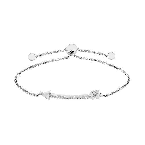 Sterling Silver 1/6 Carat T.W. Diamond Arrow Bolo Bracelet