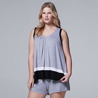 Women's Simply Vera Vera Wang Pajamas: Whisper Garden Tank Top & Boxer Shorts PJ Set
