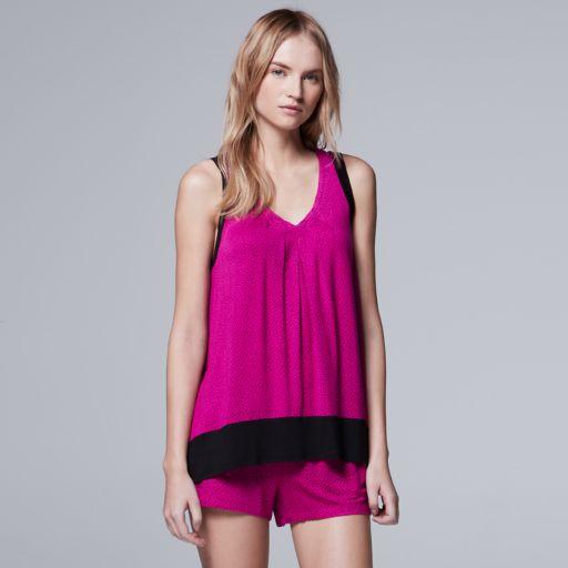Women's Simply Vera Vera Wang Pajamas: Whisper Garden Tank Top & Boxer Shorts PJ Set