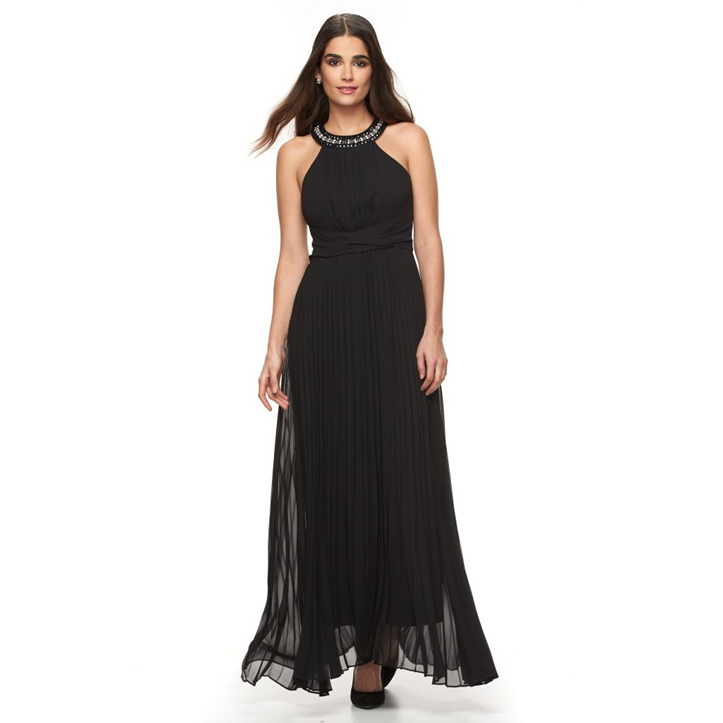 Women's Sharagano Embellished Pleated Evening Dress