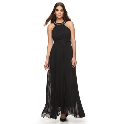 Women's Sharagano Embellished Pleated Evening Dress