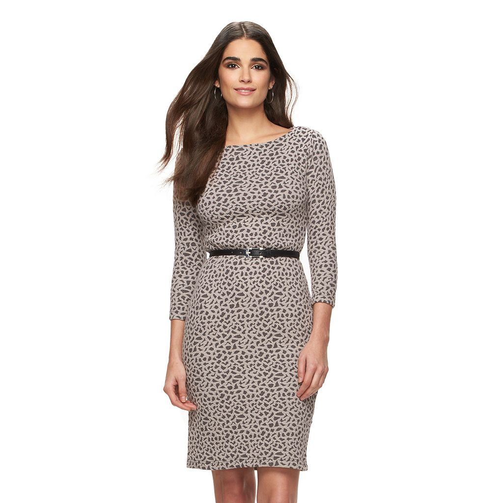 Women's Sharagano Belted Jacquard Sheath Dress