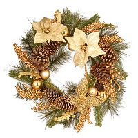 National Tree Company 24 in Artificial Gold Tone Poinsettia Christmas Wreath