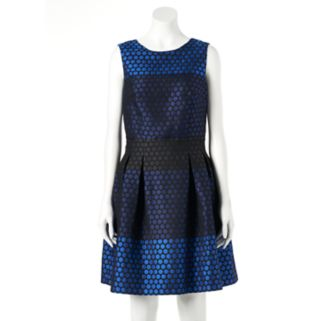 Women's DR by Donna Ricco Colorblock Dot Fit & Flare Dress