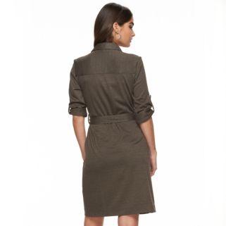Women's Sharagano Houndstooth Roll-Tab Shirtdress