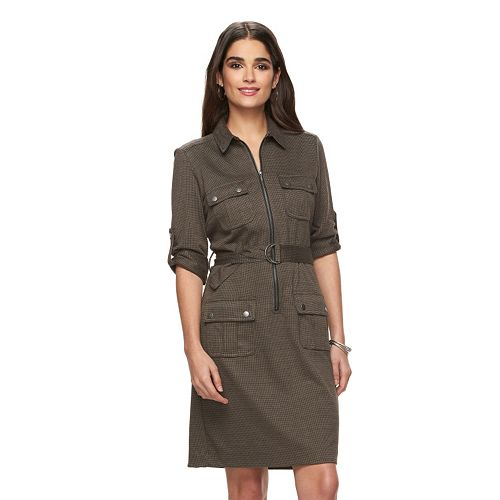 90fb85cf386 Women s Sharagano Houndstooth Roll-Tab Shirtdress