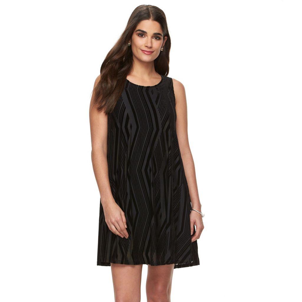 Women's Hope & Harlow Velvet Burnout A-Line Dress