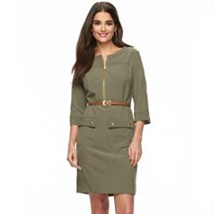 Women's Sharagano Roll-Tab Belted Shirtdress