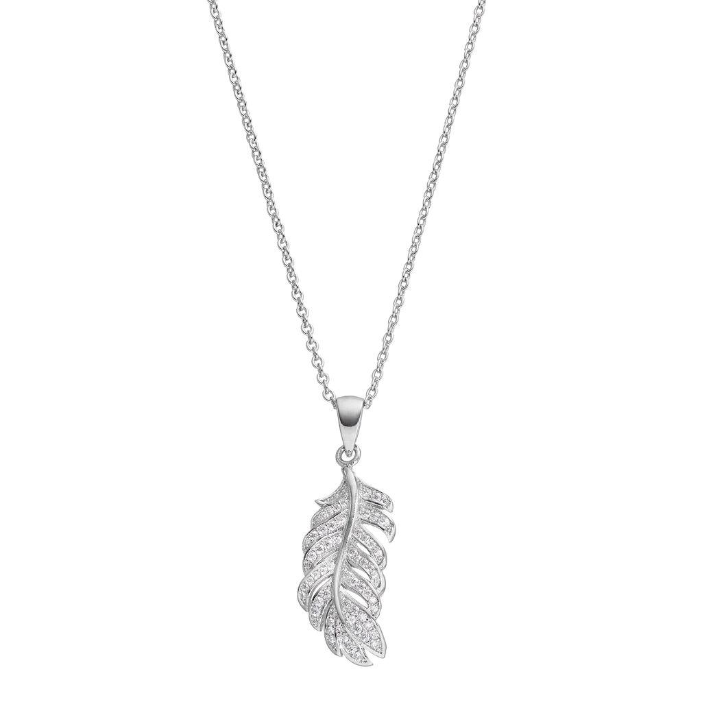Fleur Cubic Zirconia Feather Pendant Necklace