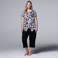 Plus Size Simply Vera Vera Wang Pajamas: Whisper Garden Top & Capris PJ Set