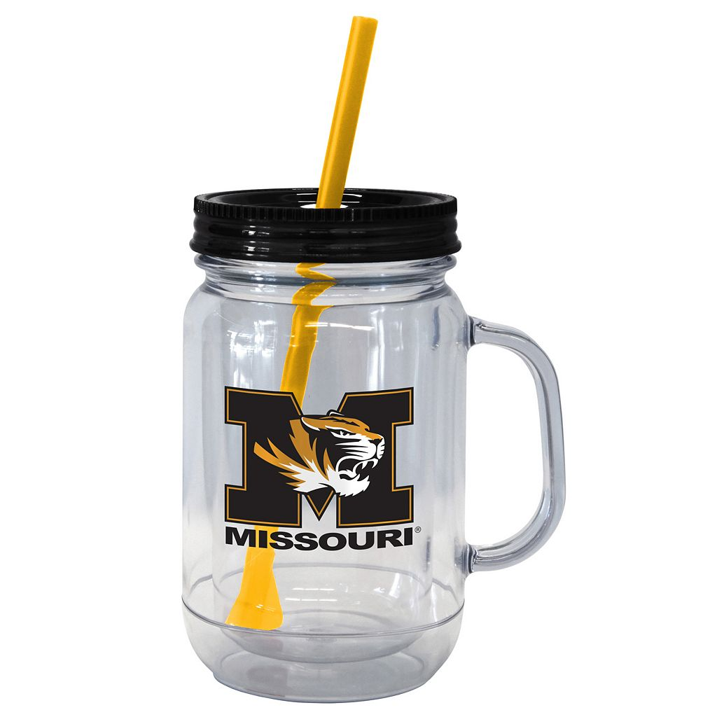 Boelter Brands Missouri Tigers 20-Ounce Plastic Mason Jar Tumbler