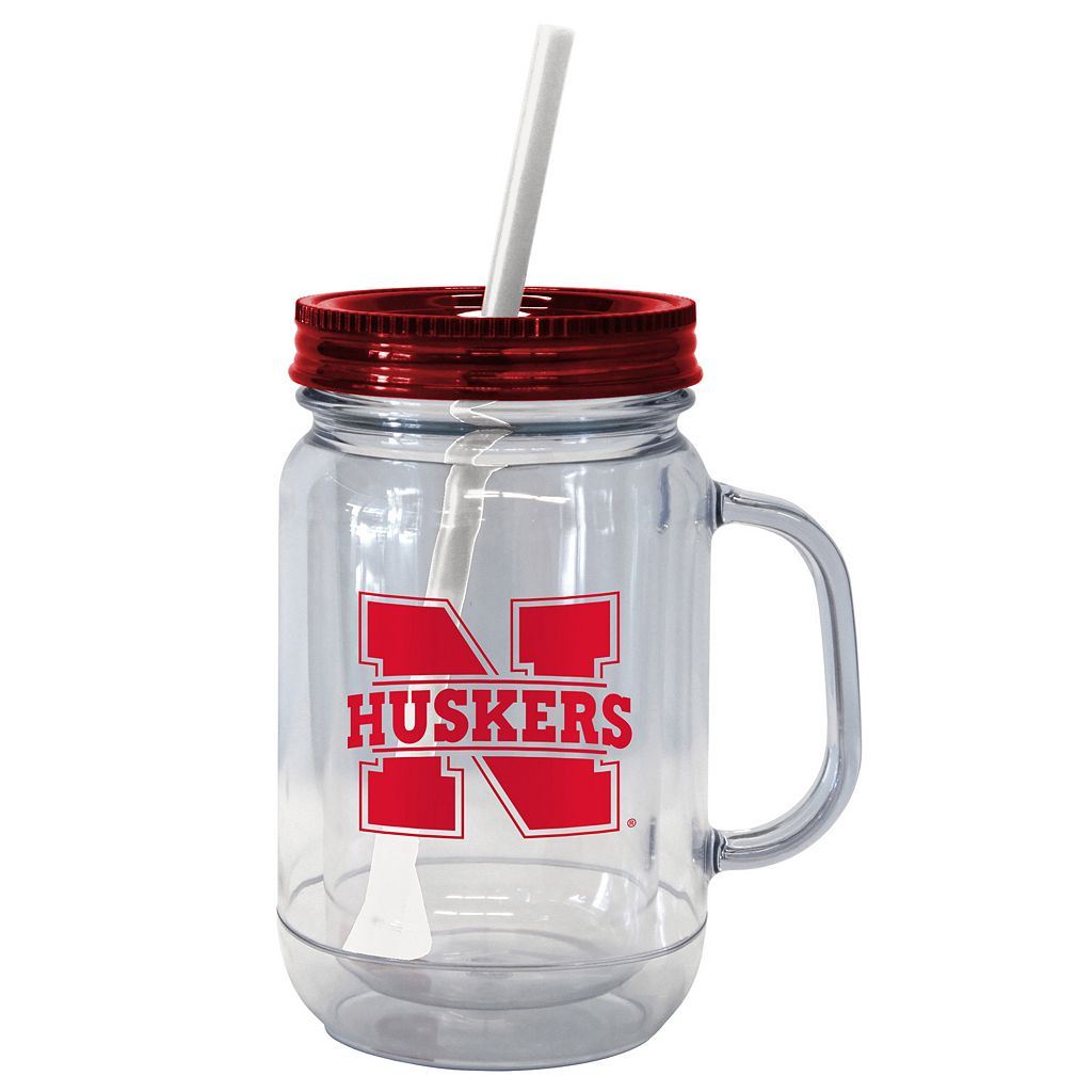 Boelter Brands Nebraska Cornhuskers 20-Ounce Plastic Mason Jar Tumbler