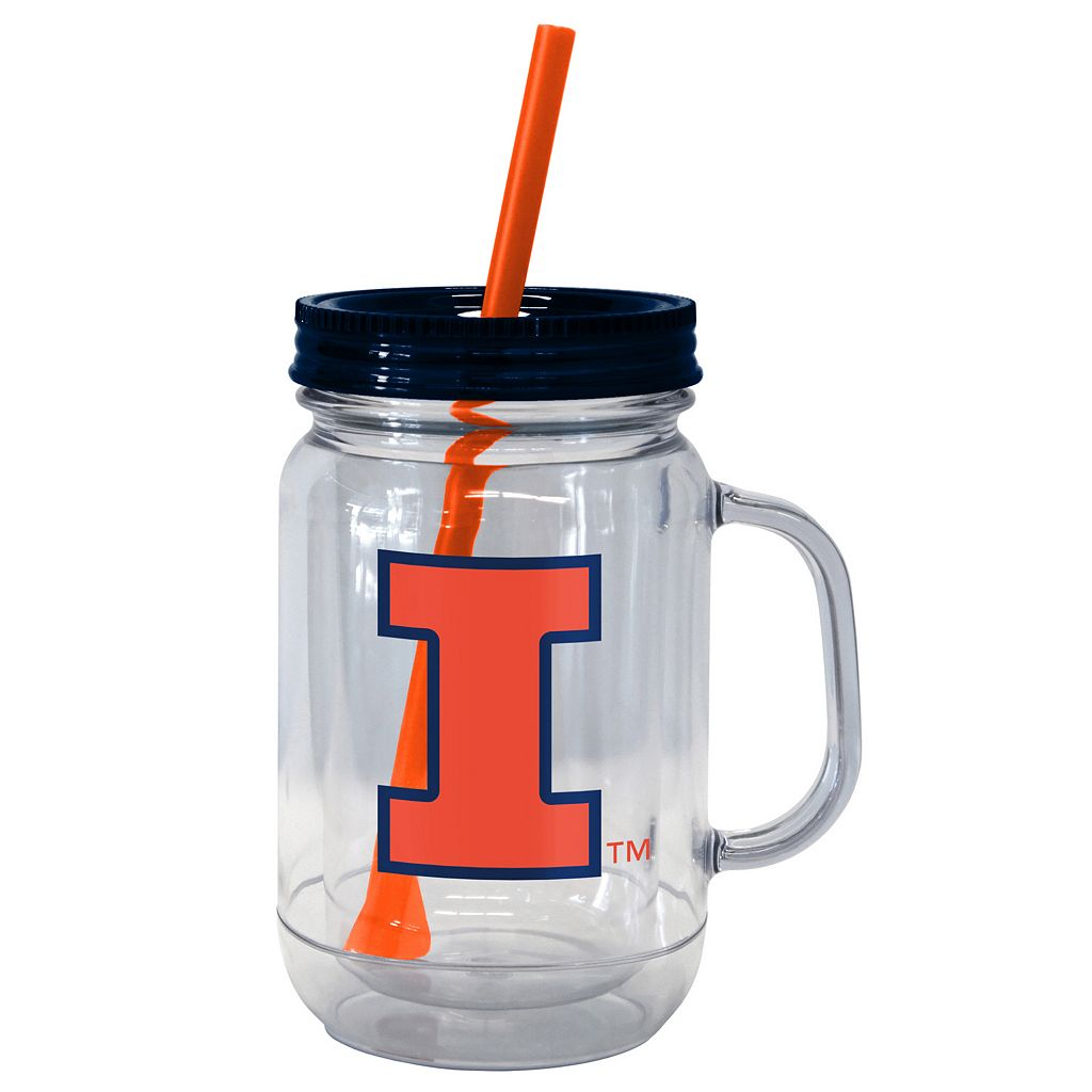 Boelter Brands Illinois Fighting Illini 20-Ounce Plastic Mason Jar Tumbler