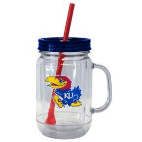 Boelter Brands Kansas Jayhawks 20-Ounce Plastic Mason Jar Tumbler