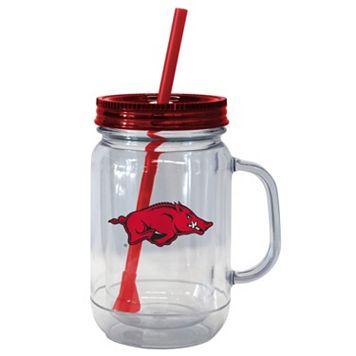 Boelter Brands Arkansas Razorbacks 20-Ounce Plastic Mason Jar Tumbler
