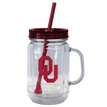 Boelter Brands Oklahoma Sooners 20-Ounce Plastic Mason Jar Tumbler