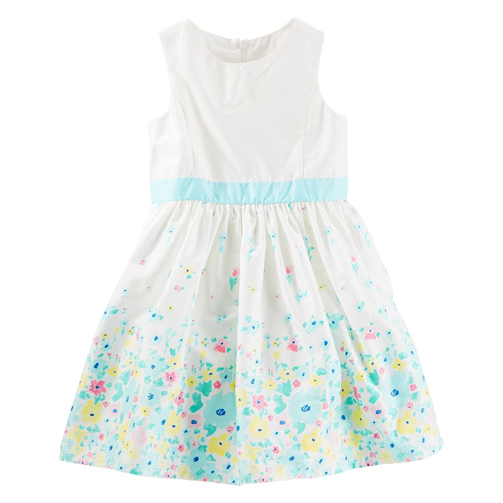 Toddler Girl OshKosh B'gosh® Floral Border Print Sateen Dress