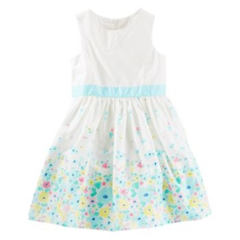Toddler Girl OshKosh B'gosh® Floral Border Print Sateen Dress