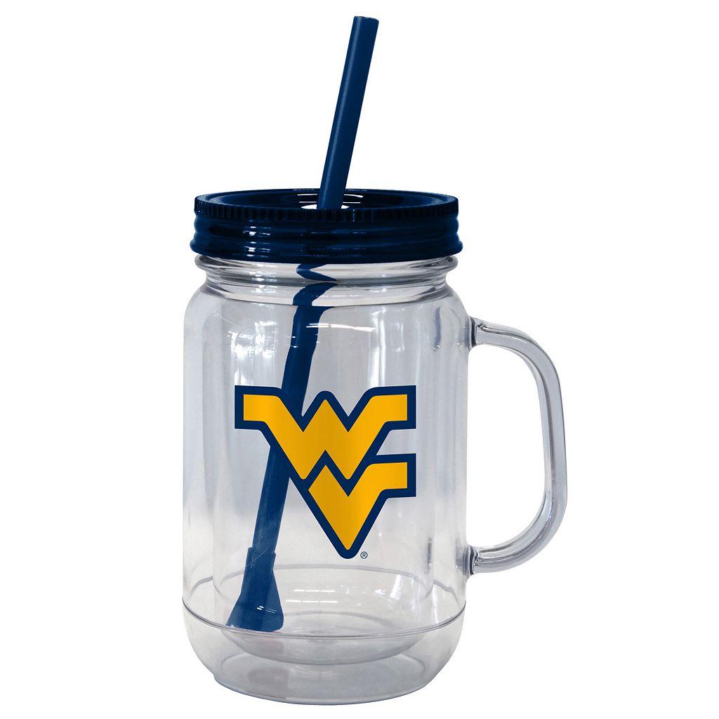 Boelter Brands West Virginia Mountaineers 20-Ounce Plastic Mason Jar Tumbler
