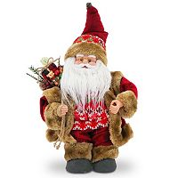 National Tree Company Fairisle Musical Santa Christmas Table Decor