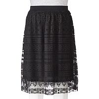 Juniors' Joe B Pleated Lace Skirt