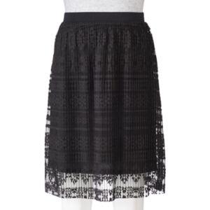 Juniors' Joe B Pleated Lace Skirt
