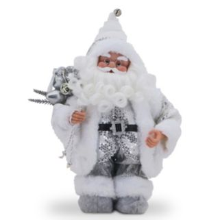 National Tree Company White Sequin Musical Santa Christmas Table Decor