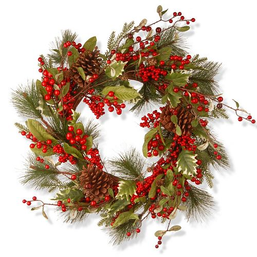 """National Tree Company 28"""" Artificial Red Berry Holiday Christmas Wreath"""