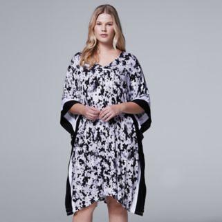 Plus Size Simply Vera Vera Wang Whisper Garden Caftan Dress