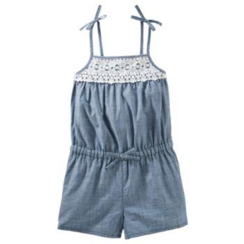 Toddler Girl OshKosh B'gosh® Lace Chambray Romper