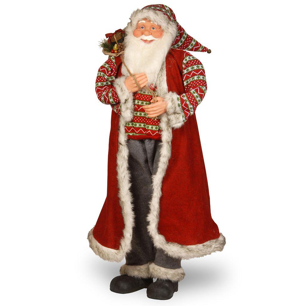 National Tree Company Fairisle Santa Floor Christmas Decor
