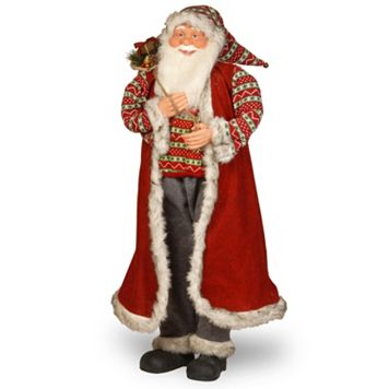 National Tree Company Fairisle Santa Floor Christmas Decor