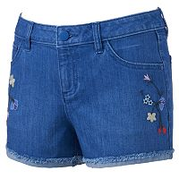 Women's LC Lauren Conrad Embroidered Jean Shorts