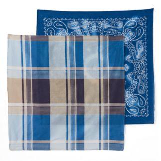 Mudd® 2-pk. Paisley & Plaid Bandana Square Scarves