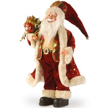 National Tree Company 18-in. Burgundy Santa Christmas Decor