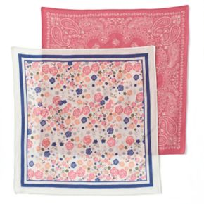 Mudd® 2-pk. Floral & Paisley Bandana Square Scarves