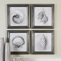 Shell Schematic Framed Wall Art 4-piece Set