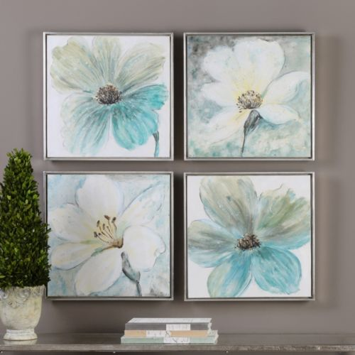 Florals In Cream and Teal Framed Wall Art 4-piece Set