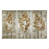 Champagne Leaves Framed Wall Art 3 pc Set