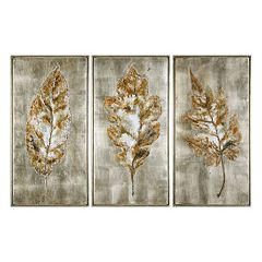 Uttermost Champagne Leaves Framed Wall Art 3-piece Set