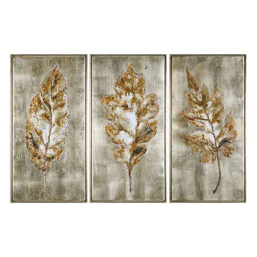 Uttermost Champagne Leaves Framed Wall Art 3-piece Set