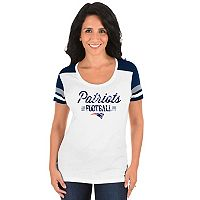 Women's Majestic New England Patriots Foil Team Logo Tee