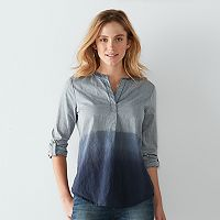 Women's SONOMA Goods for Life™ Striped Dip-Dye Henley