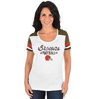 Women's Majestic Cleveland Browns Foil Team Logo Tee