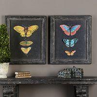 Butterflies On Slate Framed Wall Art 2-piece Set
