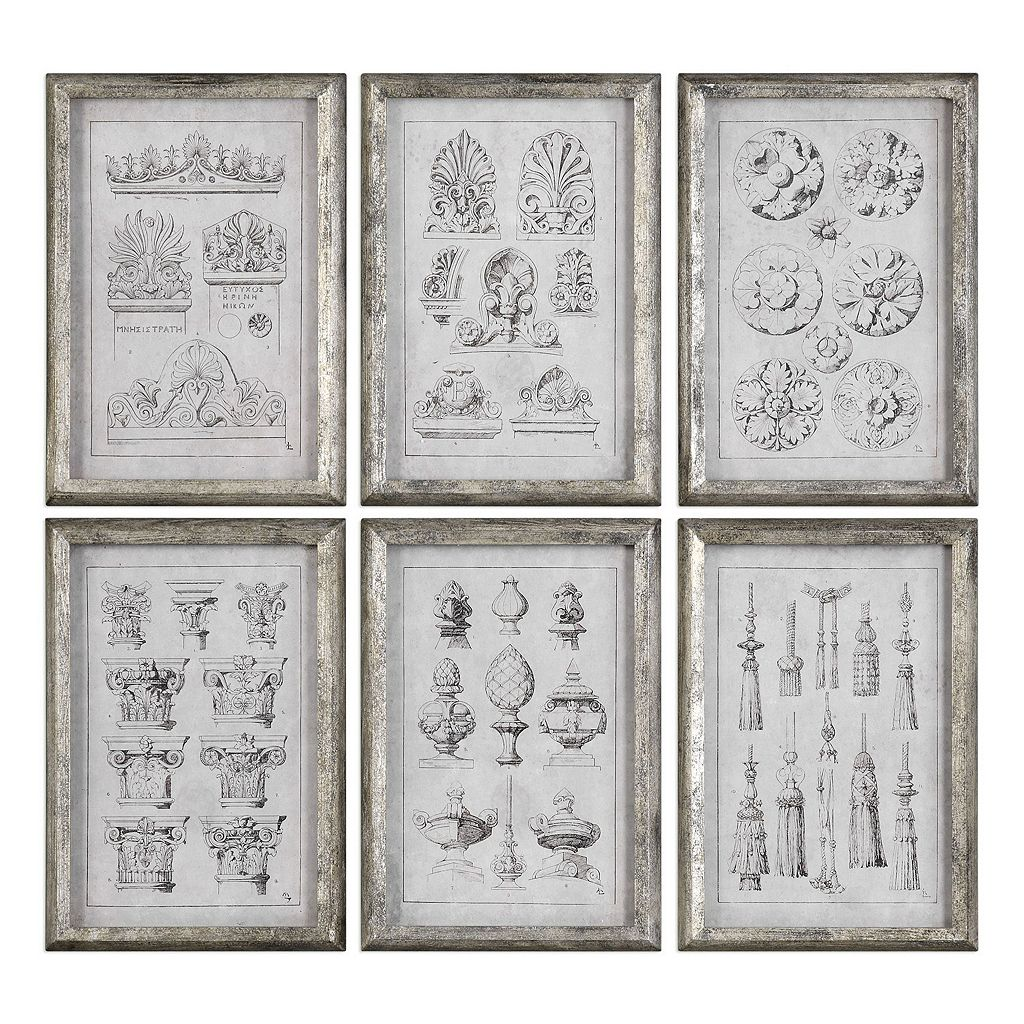 Architectural Accents Framed Wall Art 6-piece Set