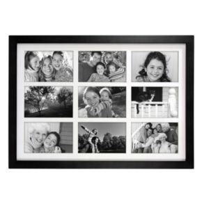 "Malden Matted Black 9-Opening 4"" x 6"" Collage Frame"