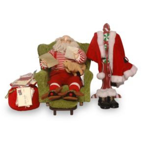 National Tree Company Sitting Santa Christmas Decor 4-piece Set