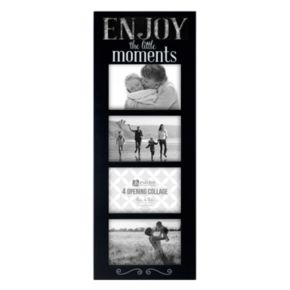 "Malden ""Enjoy Moments"" Galvanized 4-Opening 4"" x 6"" Collage Frame"